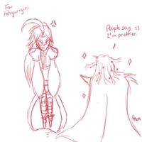 Sketch 3 - Cecil and Kuja by haos-shaman-queen