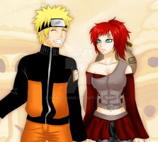 Commission: Naruto and female Gaara by manu-chann