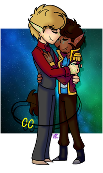 Cute Glowy Space Boys by Violet-The-Cat