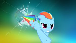 Rainboom through monitor wallpaper by Drugoli