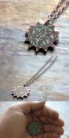 Copper Cog with Foliage Design - Glow in the Dark by random-soul