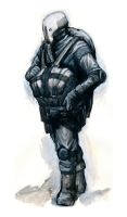 armored sci fi guy with bag by SirHanselot