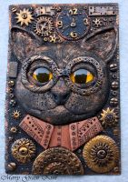 Steampunk cat cover for notebook by MerryGreenKiwi