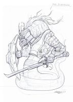 Male Snakewarrior Conceptual Linedrawing by Brollonks