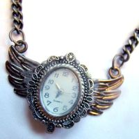 Old Winged REAL CLOCK Necklace by SteamSociety