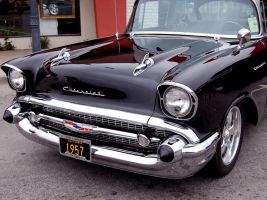 black 1957 Chevy hot rod by Partywave