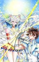 Sailor moon - eternal sailor moon VS seiya by zelldinchit
