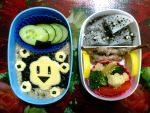 oat nori quailcheese dragon bento by plainordinary1