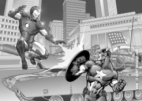 ironman vs captain america by lee-gorky