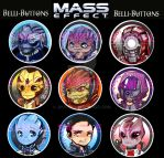 Mass Effect Buttons (commissioned) by jinyjin