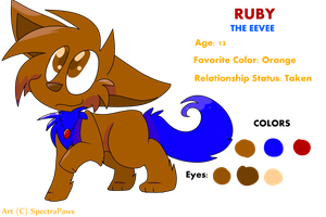 Ruby the Eevee (REFERENCE SHEET) by SpectraPaws