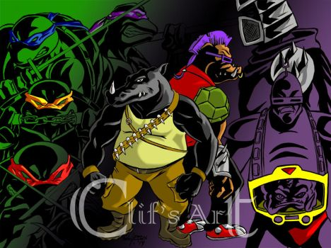 TMNT Rocksteady bebop inked and colored by clifthammavongsa
