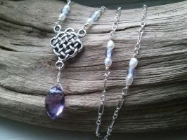 Celtic Amethyst Drop Necklace by QuintessentialArts