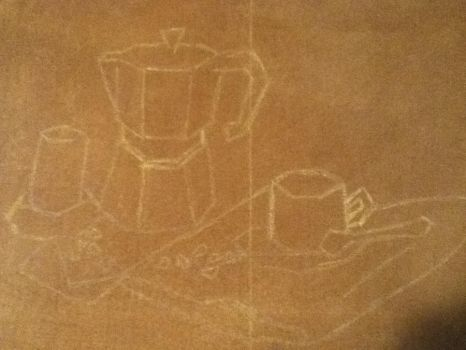 Coffee Still Life:: Part 2 Sketch Transfered by starrywolfie