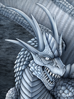 Silver Ice Dragon Portrait by DragonosX