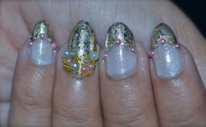 Touch of Gold with Pearl and beads ~ Wedding Nails by Gorgeousnails