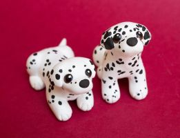 Two Dalmatian puppies by SculpyPups