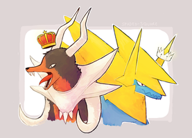 Mega Houndoom and Manectric by spaded-square