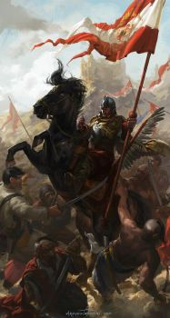 Polish Winged Hussar Bannerman by wildheadache