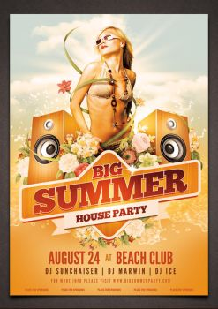 Big Summer Party Poster PSD Template by moodboy