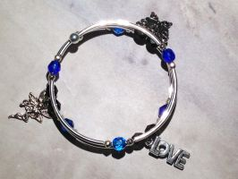 Blue, Dark Aqua and Silver Bracelet - Charmed by Kiarryn