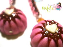 Pink Bundt Cake earrings by colourful-blossom