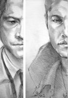 SPN_Dean and Castiel by mad-samurai