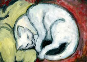 Study: Cat on a yellow pillow (1911) by Franz Marc by Sisterz0r
