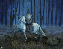 Gandalf on Shadowfax(traditionalwater mixableoils) by MichaelThom