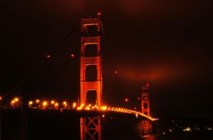 golden gate bridge night by BubblegumGirl22