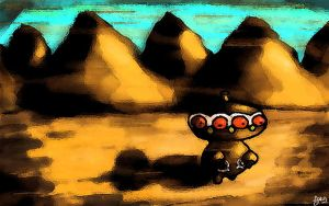 Claydol in a Desert Valley
