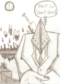 Pyramid Head at Work by zac-of-blades