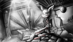 Comission. The Moogle Knight by jamescorck