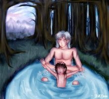 Sesshoumaru and Rin- Bathtime by TVirusJunkie