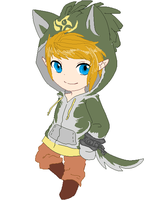 Link in a wolf-link hoodie by CoughEBeanz