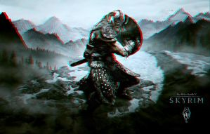 Skyrim Wallpaper Anaglyph by Geosammy