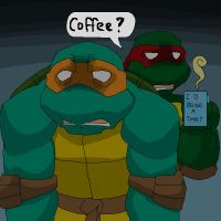 Tired Mikey and Raph by Tigerfog