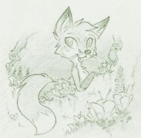 Fox and Flowers by swiftcutter