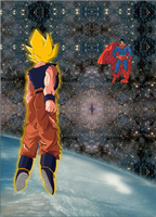 Goku vs Superman in space by lrslink