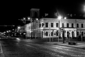 Suwalki at night - town hall by GreenShadow23