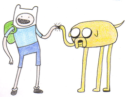 Finn and Jake by AngelHuskune