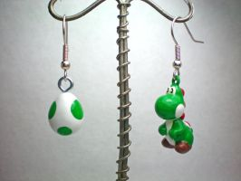 Yoshi Earrings by stevoluvmunchkin