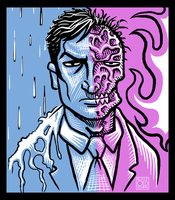 Two-Face Fire and Water by Rustyoldtown