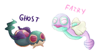 Dunsparce-Ghost and Fairy Variants by GlassesCat