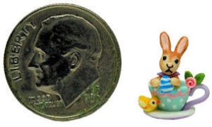 EASTER EGG BUNNY RABBIT CHICK CUP SAUCER by WEE-OOAK-MINIATURES