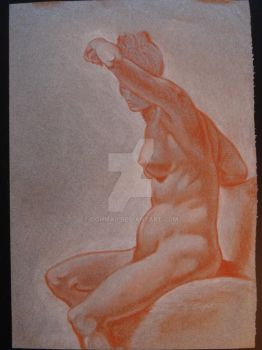 Seated Nude - sanguine conte on toned paper by Oghma9