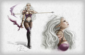 Female Elf Warrior Character Sheet by chiakiART