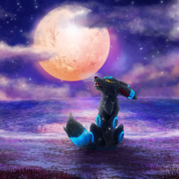 Collab/Commission: Howling at The Moon by SilverSugar