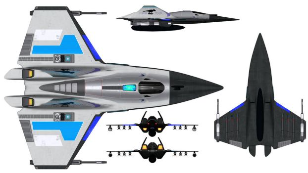 Iolair Class Fighter Orthographics by JamieTakahashi