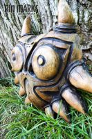 Wood Textured Wearable Skull Kid Mask by RinMarksArt